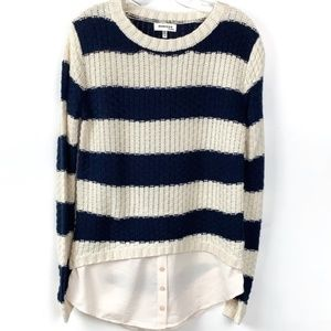 Monteau Los Angeles Navy Blue & White Stripped Top